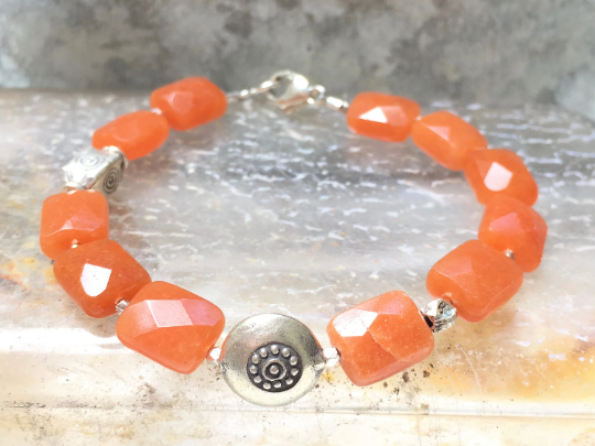 Carnelian Beaded Bracelet -  Karen Hill Tribe Silver Charm - Orange Bracelet - Women's Jewelry -  Girlfriend's Gift