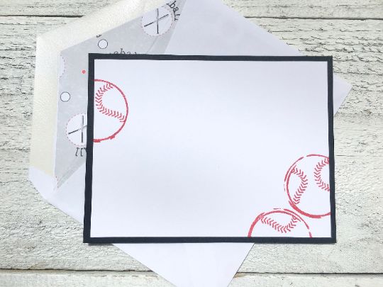 Baseball Note Cards, Baseball Stationery, Softball Note Cards,  Gift for Coaches, Thank You Notes, Personalized Stationery, Sports, Set of 8