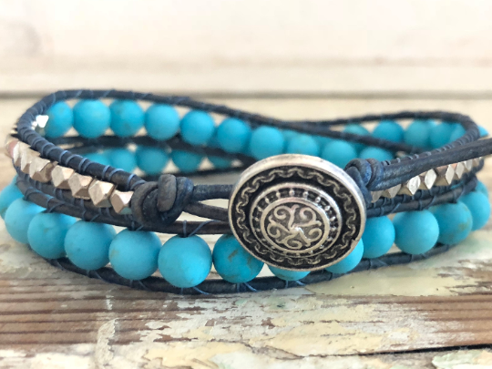 Blue Howlite Bracelet Double Wrap Turquoise Bracelet Howlite Leather Bracelet Beaded Bracelet Semiprecious Stone Bracelet Girlfriend Gift