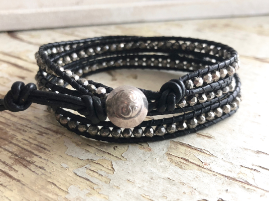 Rock Star Pyrite Bracelet, Triple Leather Wrap Bracelet,  Pyrite, Men's Wrap Bracelet, Father's Day Bracelet, Silver Bracelet