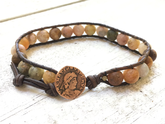 Matte Agate Bracelet Matte Agate Leather Wrap Agate Beaded Bracelet Men's Jewelry Boyfriend Gift Stacked Bracelet