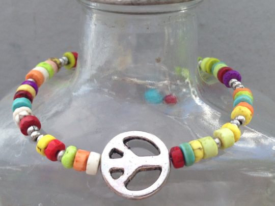 Colorful Bead Bracelet with Silver Peace Sign, Handmade with Metal and Turquoise for a 6-7 Inch Wrist, Special Requests Welcome