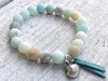 Salty Air, Amazonite Bracelet, Beach Bracelet, Salt Life Bracelet, Beaded Bracelet, Green Bracelet, Shell Charm Bracelet, Girlfriend Gift