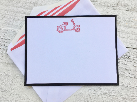 Scooter Note Cards, Scooter Stationery, Personalized Scooter Note Cards