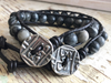 Inner Strength, Black Network Agate Bracelet, Black Agate Bracelet, Black Leather Wrap, His and Hers Bracelet, Men's Bracelet, Fathers Day