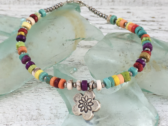 Rainbow Turquoise Bracelet Hill Tribe Silver Flower Turquoise Bracelet Beaded Bracelet Girlfriend Gift Women's Jewelry