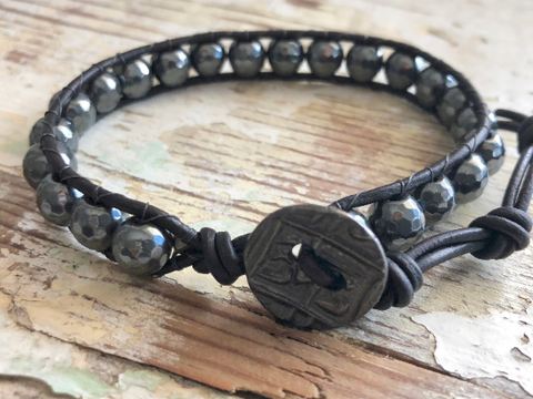 Iron Man, Hematite Bracelet, Hematite Leather Bracelet, Leather Bracelet, Leather Bracelet, Men's Bracelet, Men's Jewelry, Father's Day,