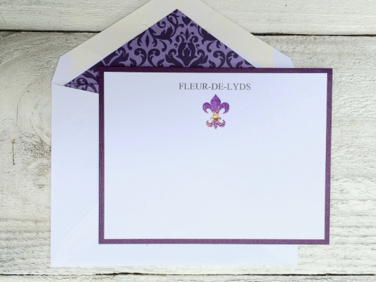 Personalized Note Card, Personalized Stationery, Fluer-de-Lis Note Cards, Flat Cards, Note Cards, Custom Designed Stationery, Box of 8