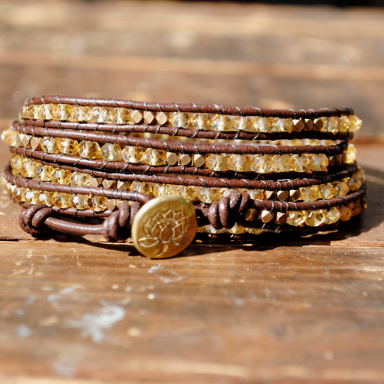 Handmade Five- Wrap Brown Leather Bracelet with Citrine Faceted Beads, Brass Nuggets, a Brass Lotus Button, 32-34