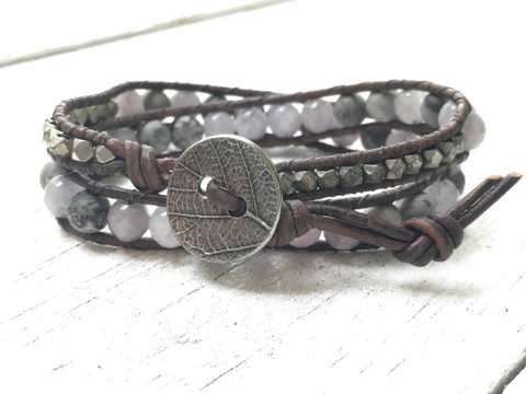 Wrapped in Steel, Double Wrap Beaded Leather Wrap Bracelet  Agate, Tiger Jasper Beaded Bracelet Girlfriend Gift Women's Gift