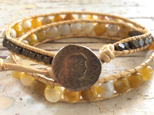 Yellow Agate Bracelet - Agate Leather Wrap - Golden Bracelet - Double Leather Wrap - Women's Jewelry - Men's Jewelry
