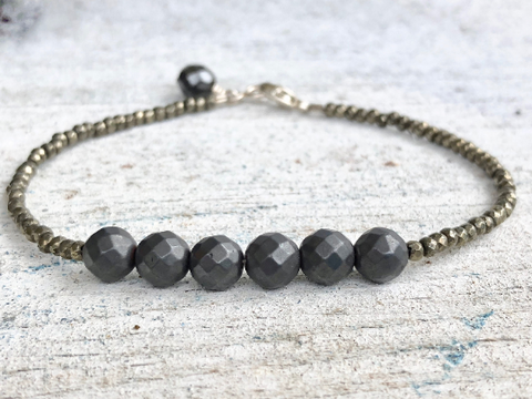 Iron Rose,  Delicate Hematite Bracelet Black Stone Bracelet , Girlfriend Gift, Stacking Bracelet