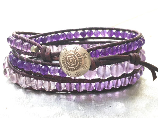 Amethyst Bracelet February Birthstone Bracelet Amethyst Triple Wrap Bracelet, Amethyst Beaded Bracelet, Girlfriend Gift, Women's Jewelry