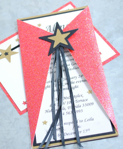 Bat Mitzvah invitation, Red carpet inspired. Star Power Folded Invitations for All Events