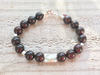 Garnet Beaded Bracelet - Modern Bracelet - Garnet and Silver - Girlfriend's Gift - Women's Jewelry - Men's Jewelry - January Birthstone