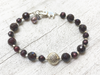 Crimson Row, Garnet Bracelet With Karen Hill Tribe Silver Charm Mothers Day Gift Girlfriend Gift Women's  Jewelry