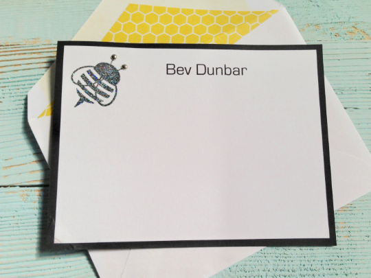 Bumble Bee Note Cards, Bumble Bee Stationery, Personalized Bumble Bee Note Cards, Note Cards, Personalized Stationery, Set of 8