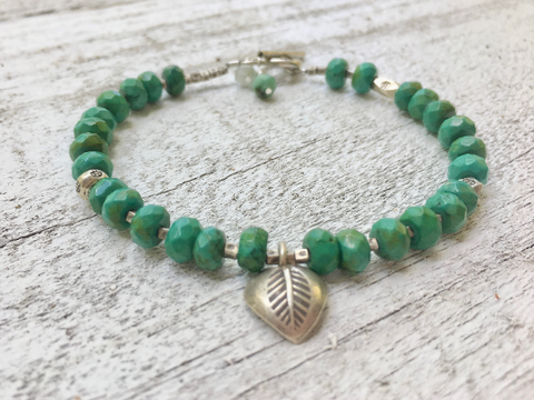 Turquoise Bracelet Turquoise Beaded Bracelet Turquoise Bracelet with Hill Tribe Silver Leaf Charm Girlfriend Gift Women Jewelry