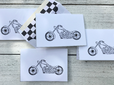 Motorcycle Folded Note Cards, Biker Note Cards, Motorcycle Stationery, Personalized Stationery, Thank You Cards, Harley Stationery, Set of 8