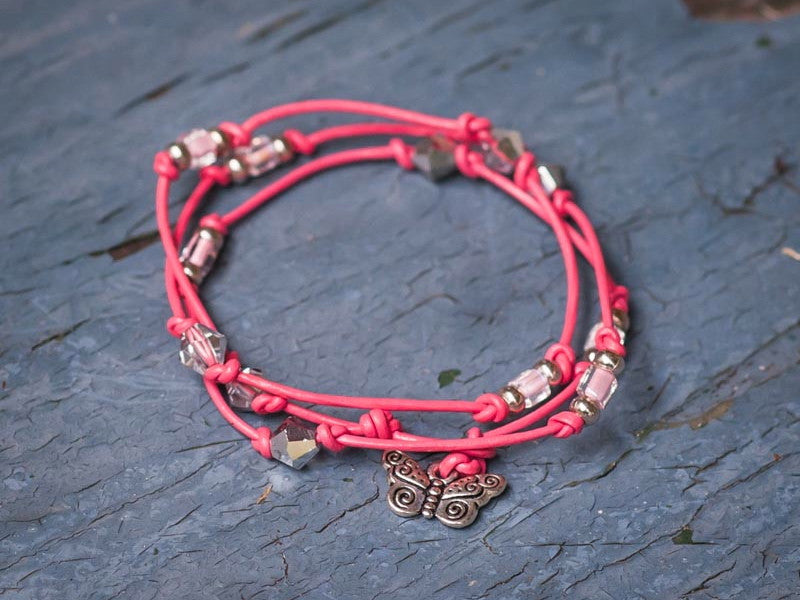 Whimsical Butterfly Wrap Bracelet, Anklet or Necklace