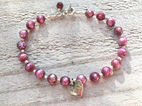 Pink Pearl Bracelet -Single Strand Pearl Bracelet - Pearl Bracelet with Silver Heart Charm - Women's Jewelry - Girlfriend's Gift