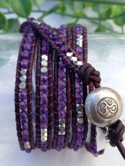 Five Wrap Bracelet, Handmade with Amethyst and Distressed Eggplant Leather, Silver Plated nuggests, Silver Button, Special Requests Welcome