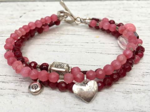 Rose Quartz Beaded Bracelet - Red Jade -Three Strand Bracelet -  Charm Bracelet - Women's Jewelry -Girlfriend's Gift