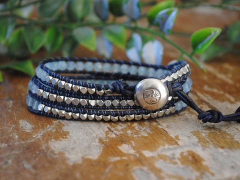 Starry Night,  Three Wrap Distressed Blue Leather Bracelet with Blue Agate Silver Plated Metal Nuggets Silver Hill Tribe Button
