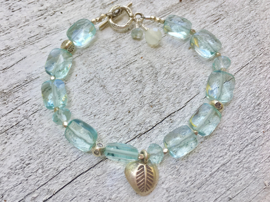 Aquamarine Bracelet Aquamarine Beaded Bracelet Aquamarine Bead March Birthstone Bridesmaid Gift Wedding Gift Hill Tribe Silver Charm