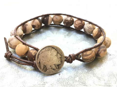 Matte Tiger Jasper Bracelet Jasper Leather Wrap Bracelet Jasper Beaded Bracelet Boyfriend Gift Men's Jewelry For Him and for Her