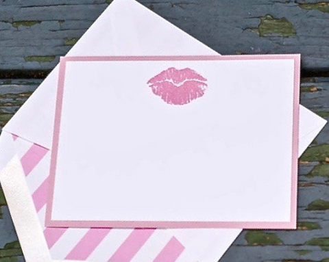 Pink Lip Notecards, Kiss Note Cards, Lips Notecards, Kiss Stationery, Pink Lip Stationery, Personalized Note Cards, Note Cards, Set of 8