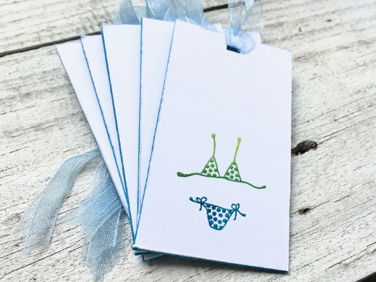 Itsy bitsy tiny weeny polka dot bikini gift tags, Bikini Gift Tags, Beach Gift Tags, Girl Gift Tags Thank you gift tags Gift Tags, Set of 10