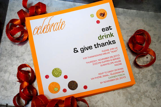 Thanksgiving Invitation, Thanksgiving Dinner Party,  Handmade Invitations,  Holiday Celebrations