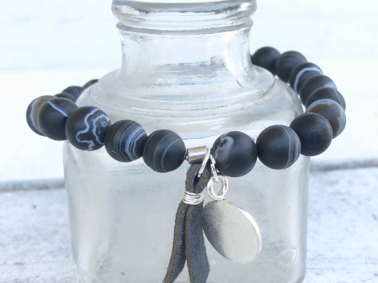 Open Skies, Agate Bracelet, Black Agate Bracelet, Bracelet with Charms, Black Bracelet, Men's Bracelet, Men's Jewelry, His and Hers Bracelet