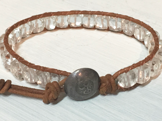 Harmony Bracelet,  Quartz crystal bead bracelet, quartz beaded bracelet, Karen Hill Tribe Button,  women's jewelry, girlfriend gift