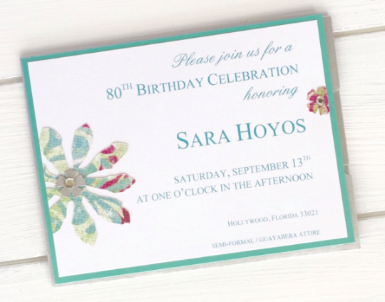Birthday Invitations, Floral Theme, Garden Invitations, Handmade Matching Envelopes, Made to Order