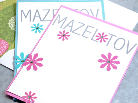 Mazel Tov Note Cards, handmade stationery, embellished with whimsical flowers and rhinestones, set of 8 cards