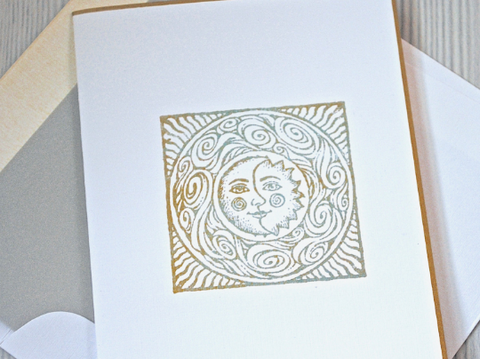 Note Cards, Handmade Stationery,  Celestial Sun and Moon Folded Notecards, Thank You Cards, Set of 8 Cards