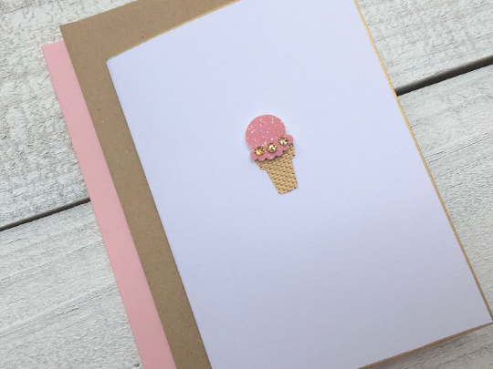Birthday Card, Happy Birthday Card, Folded Note Card, Thank You Cards, Ice Cream Note Card, Greeting Cards, Set of 8 for 18.00