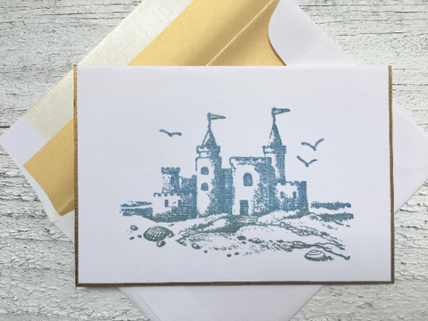 Sandcastle Note Cards, Beach Note Cards, Sandcastle Stationery, Personalized Stationery, Thank You Note Cards, Greeting Cards, Set of 8