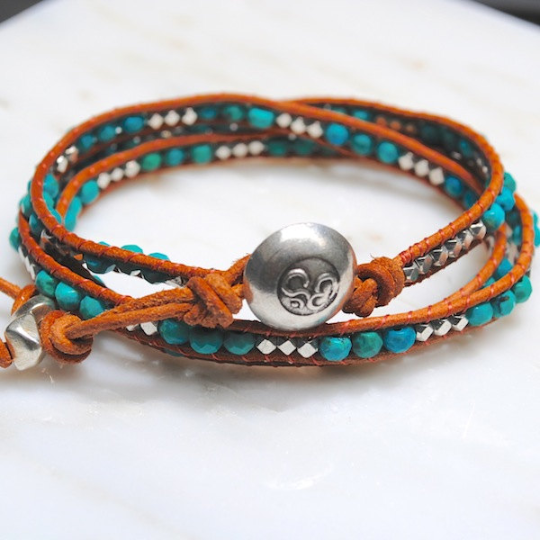 The Navajo, Turquoise Beaded Leather Wrap Bracelet Silver Nuggets Silver Om Button Natural Brown Leather Girlfriend's  Gift