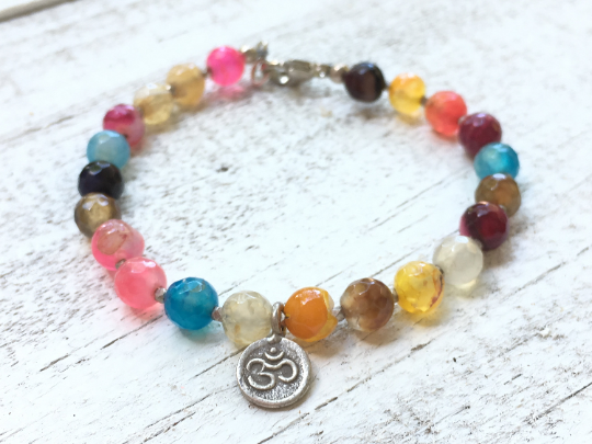 Italian River Stone Bracelet, Agate Bracelet, Karen Hill Tribe charm and beads, Multi colored agate beads, women's bracelet, girlfriend gift