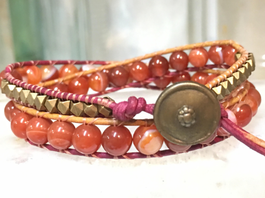 Nashville Days , Singer's Stone Bracelet Double Wrap Leather Carnelian Bracelet Girlfriend Gift