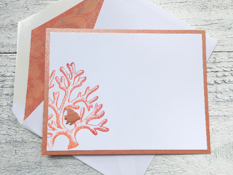 Notecards, Personalized Stationery with sea inspired coral design and decorative lined Envelopes, Handmade, Set of 8 Cards