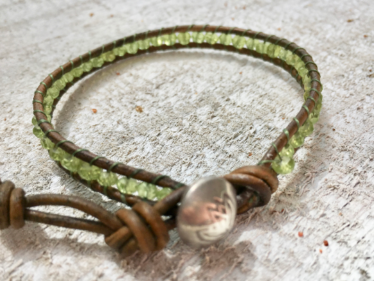 Grasslands, Peridot  Leather Beaded Bracelet  Girlfriend Gift Women's Jewelry Bridesmaid Gift Mother's Day Gift August Birthstone