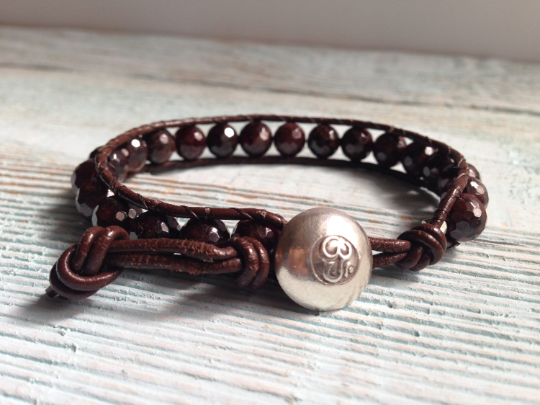 Under Currant, Single Leather Wrap Garnet Bracelet with Serling Om Button Mother's Day Gift Girlfriend's Gift
