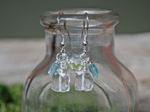 Sterling Silver Dangle Earrings with Large Crystal Quartz Stones, Aquamarine and Peridot Adornments, Special Requests Welcome