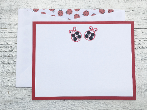 Ladybug Note Cards,  Ladybug Stationery, Personalized Stationery, Personalized Note Cards, Ladybug Stationery, Set of 8 Cards