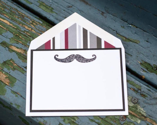Mustache Note Cards, Grooms Note Cards, Wedding Note Cards, For Him Note Cards, Thank You Note Cards, Personalized Note Cards, Set of 8