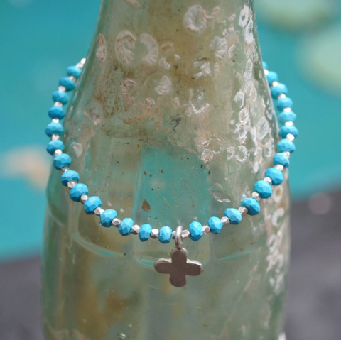 Turquoise Bead Bracelet with Hill Tribe Silver Nuggets and Silver Cross, 7 1/2